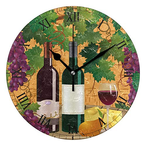 AHOMY Round Wall Clock Grape Vine Wine Home Art Decor Non-Ticking Numeral Clock for Home Office