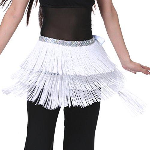 Hip Scarfs for Women White Fringe Skirt for Belly Dance S - Fringe Shimmy
