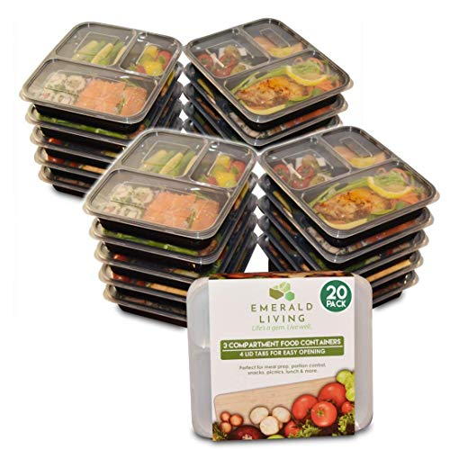 [20 pack] 3 Compartment BPA Free Meal Prep Containers. Reusable Plastic Food Containers & Lids. Stackable, Microwavable, Freezer & Dishwasher Safe. Bento Box/Lunch Box Container Set + EBook [36 - Box Fridge Bento