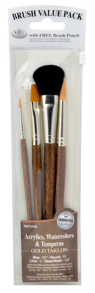 Royal and Langnickel Taklon Variety Brush Set with Mop - Gold (Pack of 4) Royal Brush Mfg 9165