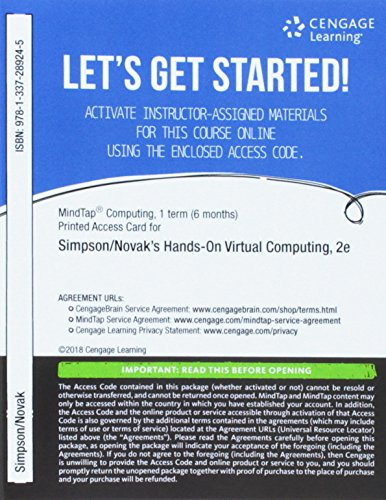 MindTap Networking, 1 term (6 months) Printed Access Card for Simpson/Novak's Hands-On Virtual Computing
