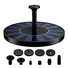 VicTsing Solar Bird Bath Fountain, 1.4W Fountain Bird Bath Outdoor Watering Submersible Pump for Bird Bath, Pond, Pool, Garden, Fish Tank ( Floating Design, Reach Up 45 cm, Improved Nozzle, Solar-powered Brushless DC, Black)