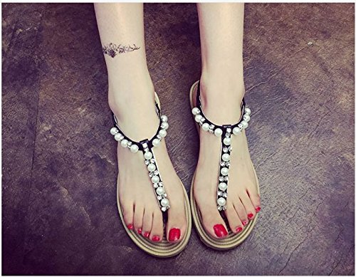 Drill Word Pinched Heel seven KHSKX Jewel Flat Bottomed Thirty Buckle Slope One Rome ngR0U