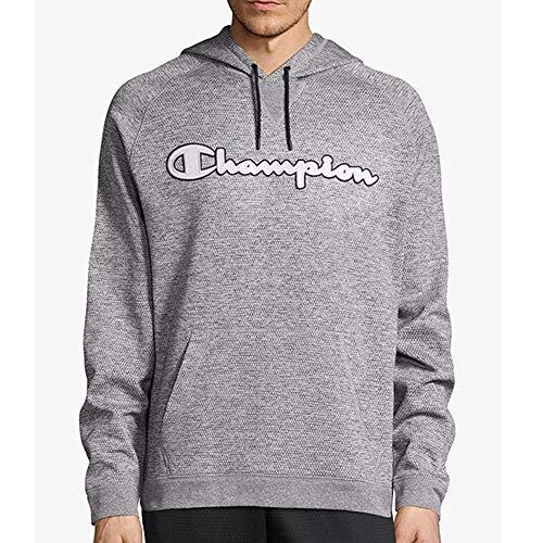 Champion Men's Graphic Tech Fleece Pull Over Hood, Graphite Gray Heather Script Applique, XX-Large ()