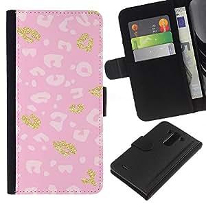 Modelo rosado de oro blanco de piel- la tarjeta de Crédito Slots PU Funda de cuero Monedero caso cubierta de piel Para LG G3