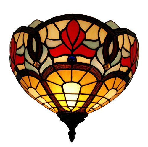 Tiffany Sconce Black - Amora Lighting AM082WL12 Tiffany Style Victorian Design Wall Lamp 12 in Wide