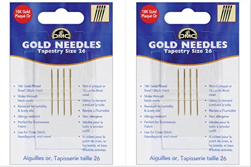 (2 Pack Bundle: Gold Tapestry Needles, Size 26)