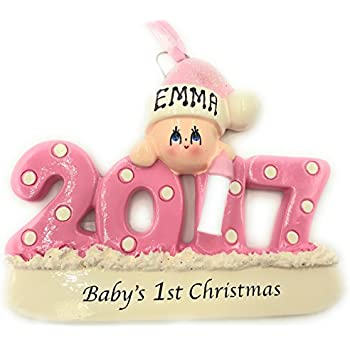 Amazon.com: Baby's First Christmas Ornament 2017 - Pink/Girl ...