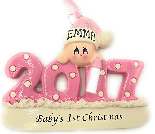 Personalized Baby's First Christmas Ornament 2017 - Pink/girl - Free Personalization (Personalized Baby First Christmas Ornament)