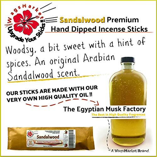 WagsMarket Premium Hand Dipped Incense Sticks, You Choose The Scent. 100-12in Sticks. (Sandalwood) - incensecentral.us