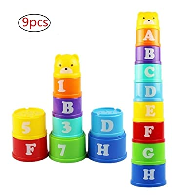 HMILYDYK 9PCS Random Color Sorting and Stacking Cup Toys Letters and Fingers Early Educational Toys for Toddlers: Toys & Games
