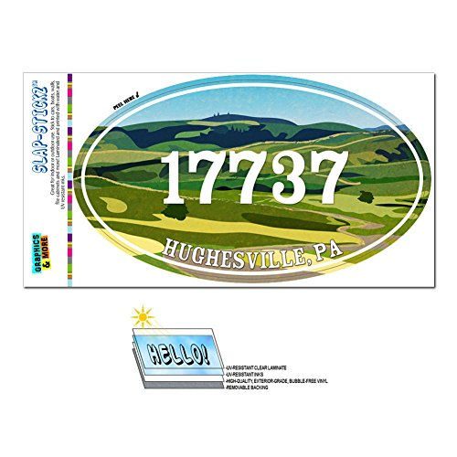 Graphics and More Zip Code 17737 Hughesville, PA Euro Oval Window Bumper Glossy Laminated Sticker - Green Rolling (Hughesville Pa)