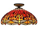 Tiffany Style Ceiling Lamp and 18-Inch Red Dragonfly Design Glass Ceiling Lamp - Restaurant Bedroom Aisle Corridor Ceiling Light