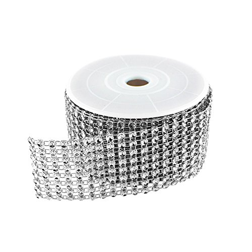(Diamond Sparkling Rhinestone Mesh Ribbon Roll for Arts & Crafts, Event Decorations, Wedding Cake, Birthdays, Baby Shower, 1.5