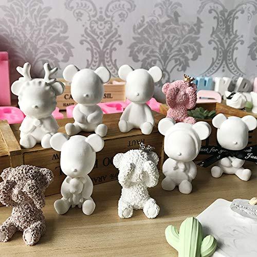 Bear Silicone Gypsum Mold Plaster Cute Bear Mould Handmade Silicone Soap Mold Aroma Car Pendant Mold ()