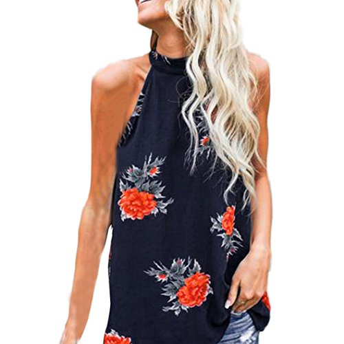 Hunzed Women Fashion Floral Sleeveless T-Shirt Vest T-shirt Casual Blouse Tank Crop Top (M, Dark Blue)