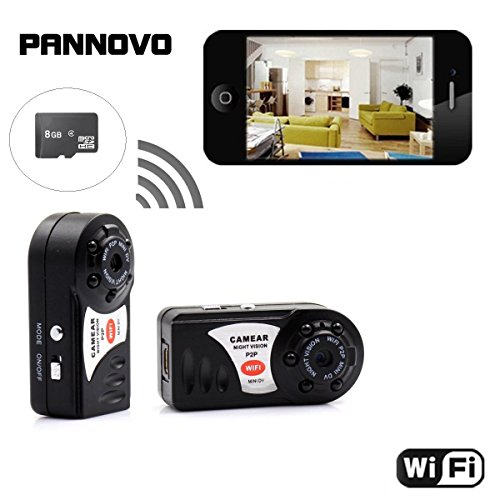 Mini P2P WIFI IP Camera 8GB Card, PANNOVO - Wireless Surveillance Microphone