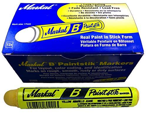 Box of 12 Markal B Yellow Tire Chalk Paint Sticks Crayon Surface Marker Graffiti