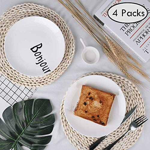 Juharfa Round Woven Placemats, Natural Corn Straw Weave Chargers Round Braided Rattan Tablemats, 11.8 inch, 4 Pcs