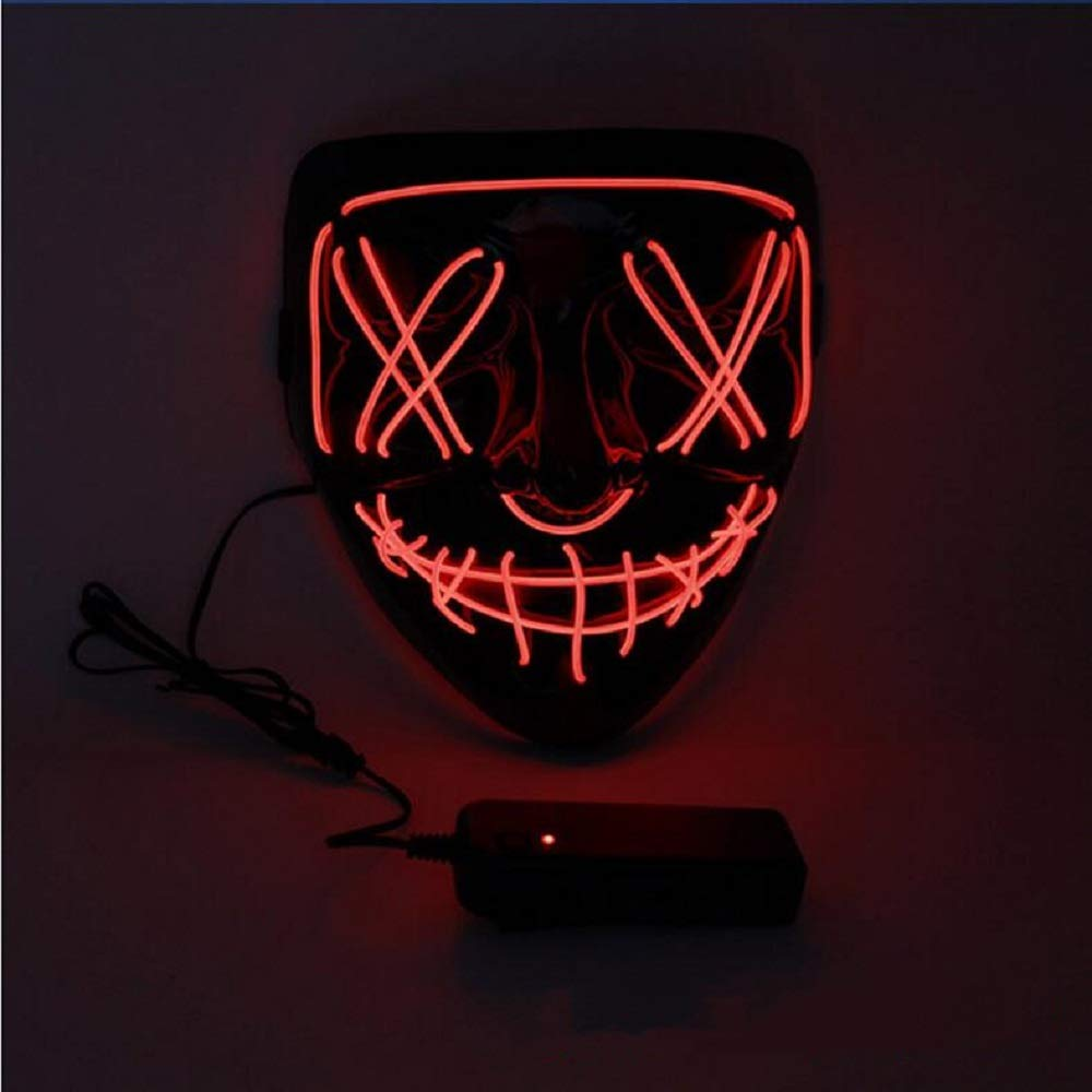 LED Halloween Mask,Scary mask with LED Light,Cosplay Glowing mask for Halloween Festival Party (Red)