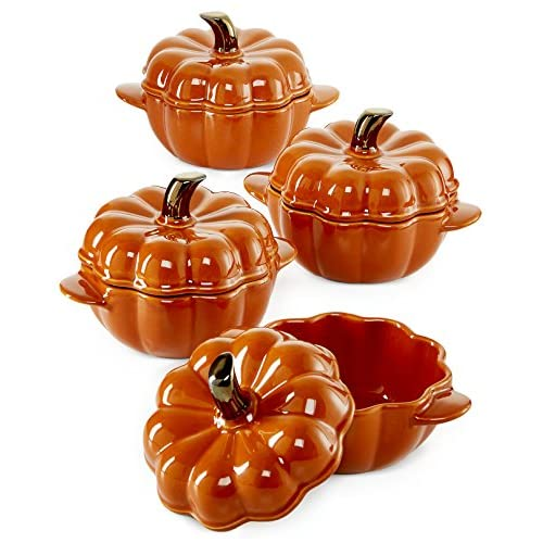 Martha Stewart Covered Pumpkin Covered Bowls set of 4 Ceramic Cocottes
