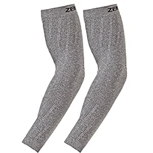 Zensah Compression Arm Sleeves,Heather Grey,Small/Medium