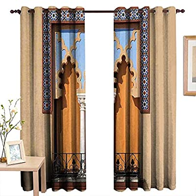Qenuanmpo Blackout Curtains for Bedroom Arabian,Old Windows in Arabian Style at Cordoba Spain Background Balconies City,Sand Brown Pale Blue,Darkening Grommet Window Curtain-Set of 2