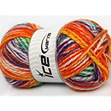 Lot of 4 x 100gr Skeins ICE YARNS Fun Colors Bulky Yellow Purple Pink Orange Green