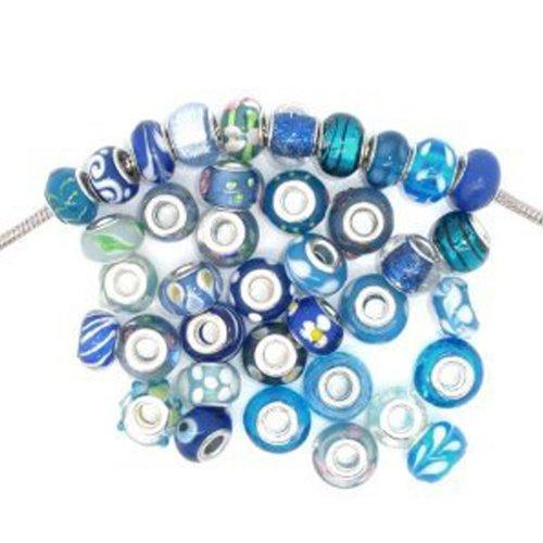 Pack of 10 Assorted Blue Glass Lampwork Murano Glass Beads For Snake Chain Charm Bracelet (Ruby Bracelet Slide)