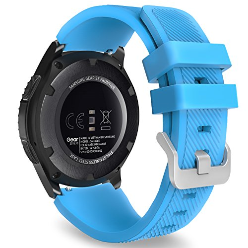 MoKo Gear S3 Frontier/Classic Watch Band, Soft Silicone Replacement Sport Strap for Samsung Gear S3 Frontier / S3 Classic/Galaxy Watch 46mm / Moto 360 2nd Gen 46mm Smart Watch, Blue