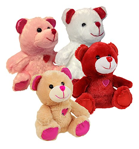 4 Teddy Bear (Greenbrier Multipack of 4 Sparkly Eared Plush Teddy Bear Animals)