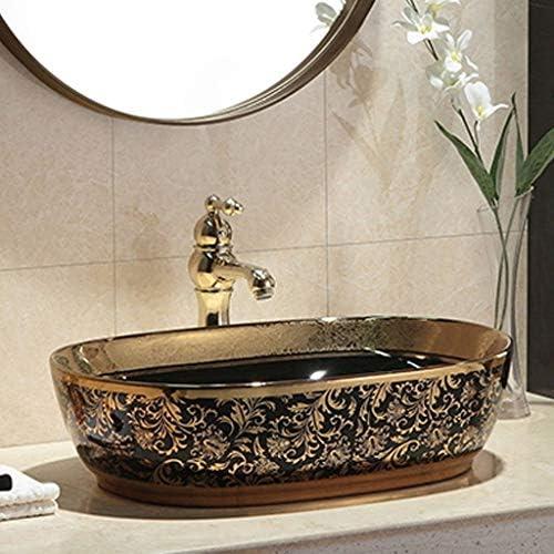 Minmin バスルームの洗面ホーム小さなアパートレトロセラミックテーブル楕円形のバスルームの洗面台バルコニー洗濯プールのバスルーム洗面560x410x150mm 芸術流域 (Size : 560x410x150mm)