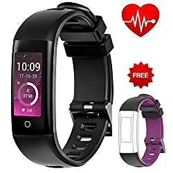 Auney Fitness Tracker Color Screen Sport Replacemennt Band Smart Wristband Bracelet Waterproof Bluetooth Activity Heart Rate Sleep Monitor Pedometer Sport Band For Ios & Android