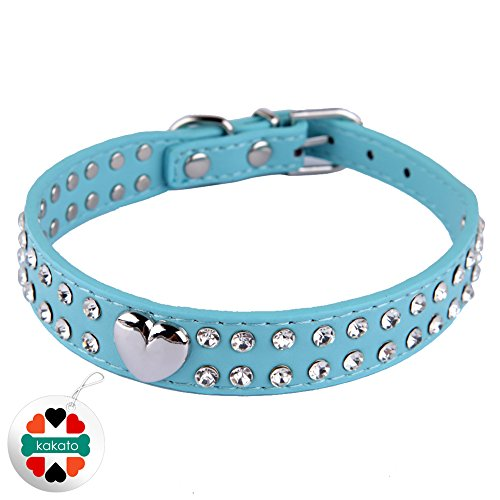 Pet Kingdom 2 Rows Rhinestone Bling Heart Studded Leather Dog Collar For Small Or Medium Pet Collar (Blue, Medium)