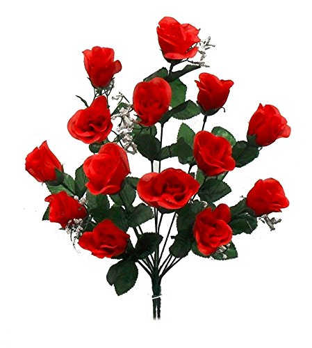 1 Bouquet of 14 Red Long Stem Roses Buds Silk Wedding Decoration Flowers Artificial Arrangement Bouquets Valentines Day Gift (Roses Stem Assorted Long)