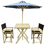 Zew 4-Piece Bamboo Outdoor Bistro Patio Set with Square Table, 2 Comfortable Canvas Chairs and Umbrella, Black Review
