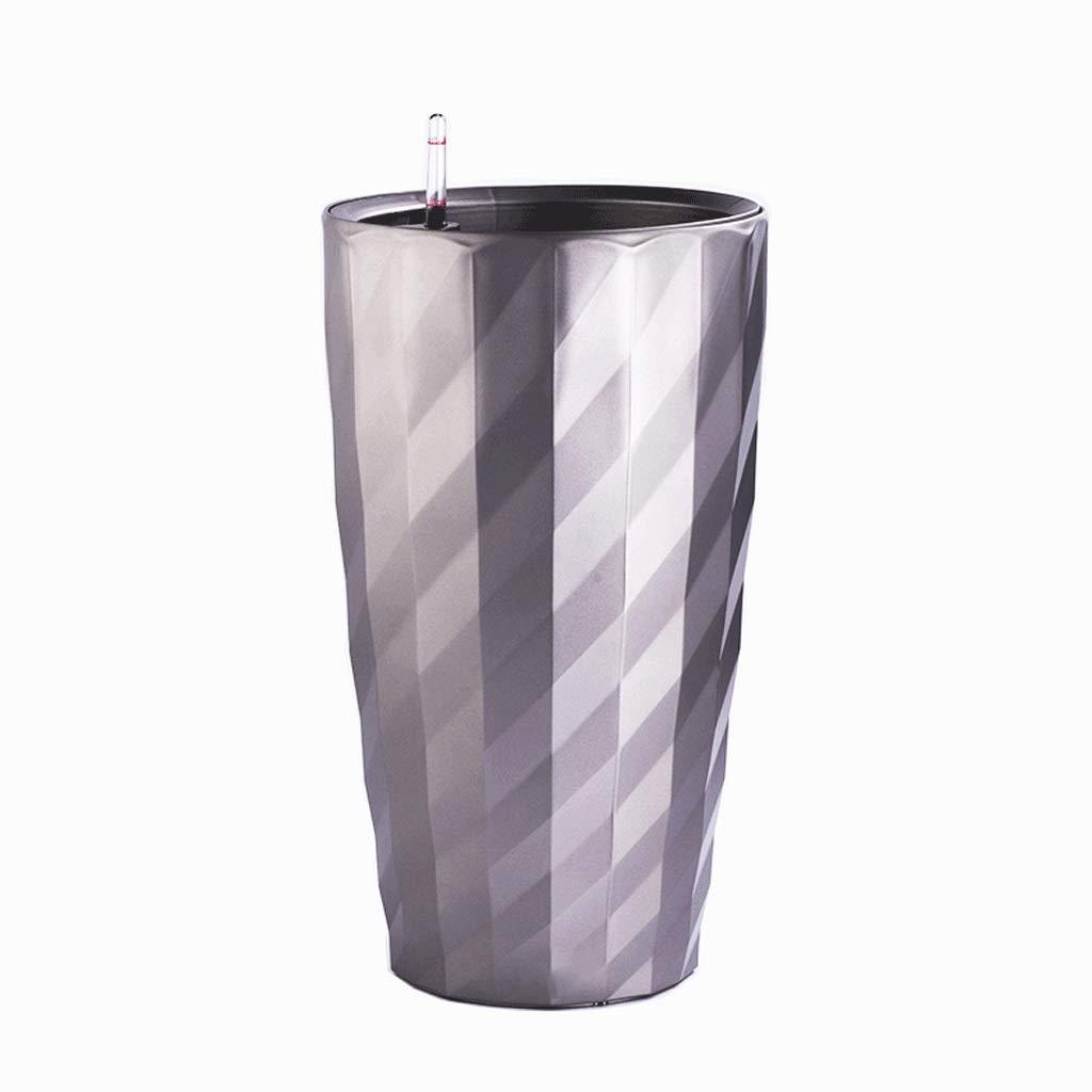 庭 シンプルなペイント模造セラミックプラスチック自動灌漑ポットモール/リビングルームの装飾ホワイトラウンドフラワーポット 植栽管理 (Color : Silver, サイズ : S) B07RW4N8P5 Silver Small