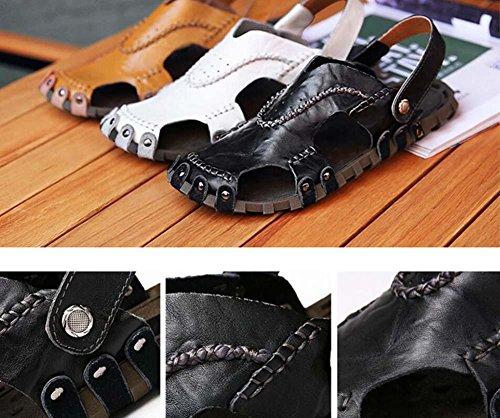 Onfly Hombres Chicos Dedo del pie cerrado Cuero Casual Sandalias Zapatillas Antideslizante Respirable Para caminar Al aire libre Sandalias Zapatos de agua Zapatillas de deporte ocasionales Playa Zapat White
