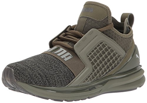 PUMA Unisex-Kids Ignite Limitless Knit Jr Sneaker, Olive Night Black, 7 M US Big Kid by PUMA