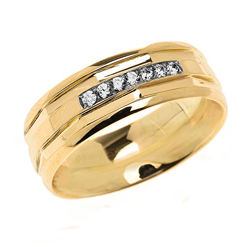 Men's 14k Yellow Gold Comfort Fit Modern Wedding Band with Diamonds (Size 7)