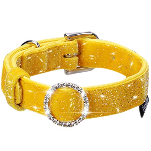 PetsHome Dog Collar, Cat Collar, [Bling Beautiful] Adjustable Collars for Small Dog and Cat Small Yellow ()