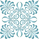 """Palmette Square Stencil - (size 10.5""""w x 10.5""""h) Reusable Wall Stencils for Painting - Best Quality Wall Dreamcatcher Decor Ideas - Use on Walls, Floors, Fabrics, Glass, Wood, and More…"""