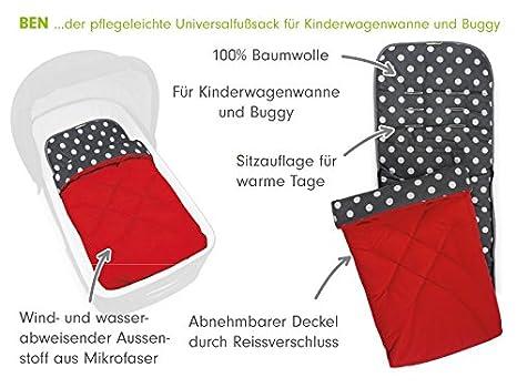 Priebes Universal-Fu/ßsack Ben Design:Apfel petrol Sommer-Fusssack f/ür Sportwagen Buggy Kinderwagen atmungsaktiv Fu/ßteil abnehmbar