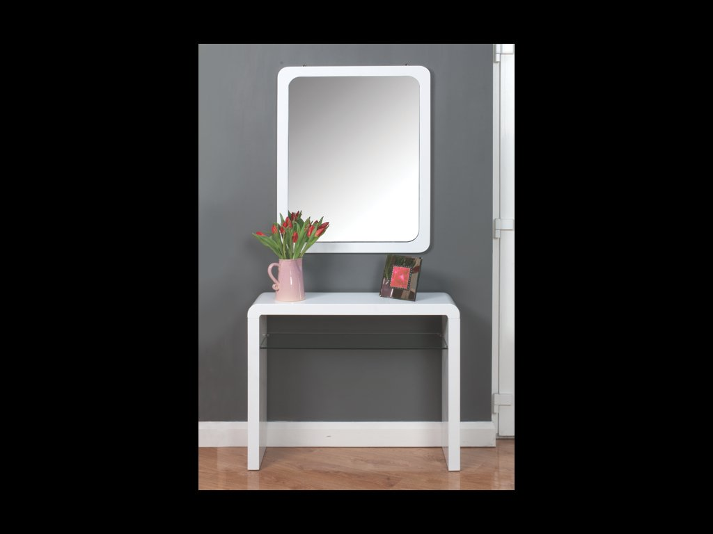 Atlanta White Console Table With Glass Shelf