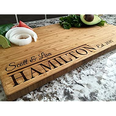 Personalized Cutting Board 11 x 17 Bamboo - Hamilton Style