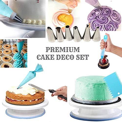 75個のケーキデコレーション用品セット回転ターンテーブル、カプラー、フロスティング、パイピングバッグセット、ペストリーツール、ケーキスクレーパー
