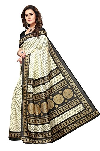 Plaincraft Enterprise Women s Cotton Silk Saree With Blouse Piece (Off-White)   Amazon.in  Clothing   Accessories e38b037596