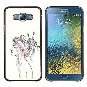 LECELL--Funda protectora / Cubierta / Piel For Samsung Galaxy E7 E700 -- Retrato a lápiz de dibujo Fashion Art --