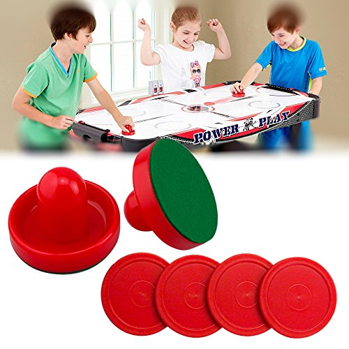 Dazzling Toys Set of Two Red Air Hockey Pushers and Four Red Pucks Sports Set