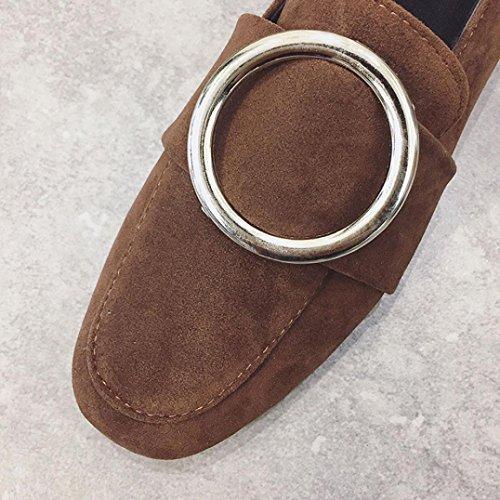 Marrone punta cerchio unita fibbia decorazione in piatto tinta punta pelle casual metallo scamosciata a scarpe scarpe fondo scarpe pelle quadrata Longra sintetica nude in Moda q7O6fzS